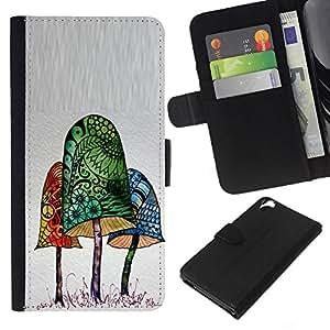 EJOY---La carpeta del tirón la caja de cuero de alta calidad de la PU Caso protector / HTC Desire 820 / --Poison Mushroom