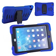 Xtra-Funky Range iPad Mini 4 Heavy Duty Dual Layer Silicon and Plastic Shock Absorbing Ultimate Protective Case with Built in Stand and Protective Screen layer - BLUE