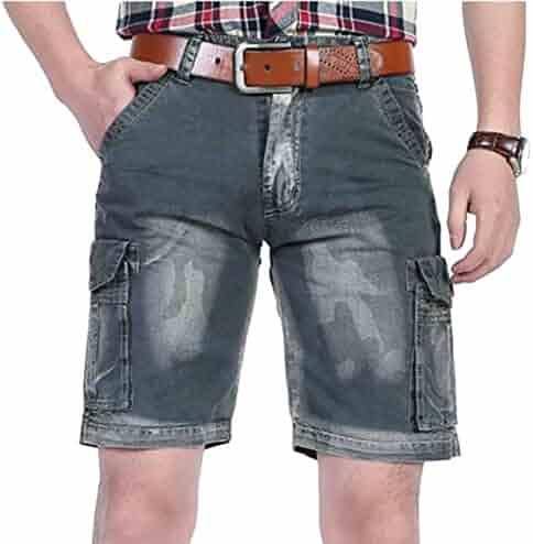 b6f9973054 Oberora-Men Mid Waist Pockets Denim Cargo Shorts Jeans Pants Trousers