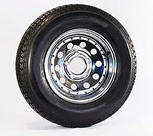 "Trailer Tire + Rim ST205/75D14 F78-14 14"" 5 Lug Hole Wheel Chrome Mod W/Rivets"
