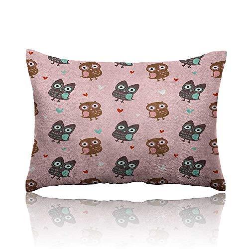 - Anyangeight Nursery Mini Pillowcase Love Owls with Mini Valentines Hearts Surrounding Them on a Rose Print Fun Pillowcase 16