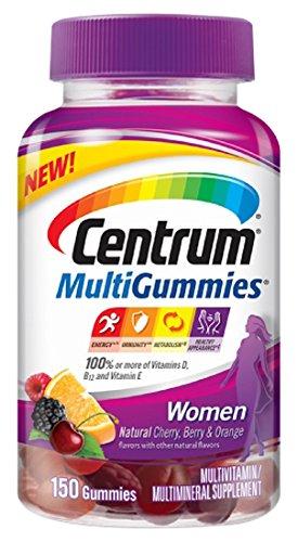 Centrum Women MultiGummies Multivitamin / Multimineral Supplement Gummies, Vitamin D3 (Natural Cherry, Berry and Orange Flavor, 150 Count)