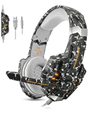 ECOOPRO Stereo Gaming Headset for PS4, Xbox One, PC, Professional 3.5mm Noise Isolation Over Ear Headphones with LED Lights, Mic & Volume Control Perfect for Laptop Mac iPad and Phones