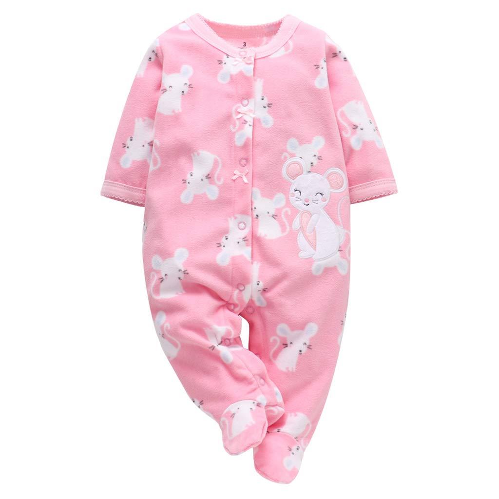 0-3 Mois B/éb/é Gar/çon Fille Combinaison Polaire Barboteuses Chaud Pyjamas Mignon Grenouill/ère Manches Longues Body Nouveau-n/é Salopette