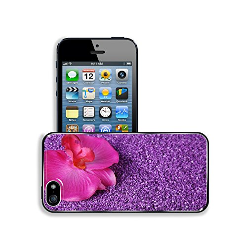 Luxlady Premium Apple iPhone 5 iphone 5S Aluminum Backplate Bumper Snap Case IMAGE ID 31408878 beautiful orchid decorated with lilac sand