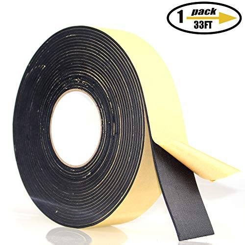 Foam Insulation Tape Adhesive, Seal, Doors, Weatherstrip, Waterproof, Plumbing, HVAC, Windows, Pipes, Cooling, Air Conditioning, Weather Stripping, Craft Tape (33 Ft- 1/8 x 2)