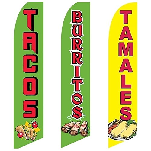 3 Swooper Flags Tacos Burritos & Tamales Food Special Open Sale