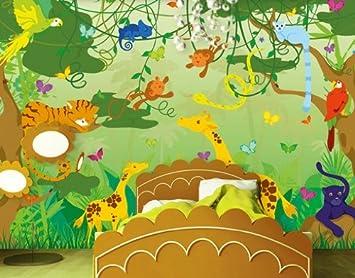 Fototapete kinderzimmer tiere  Fototapete Tiere und lustiger Dschungel für das Kinderzimmer ...