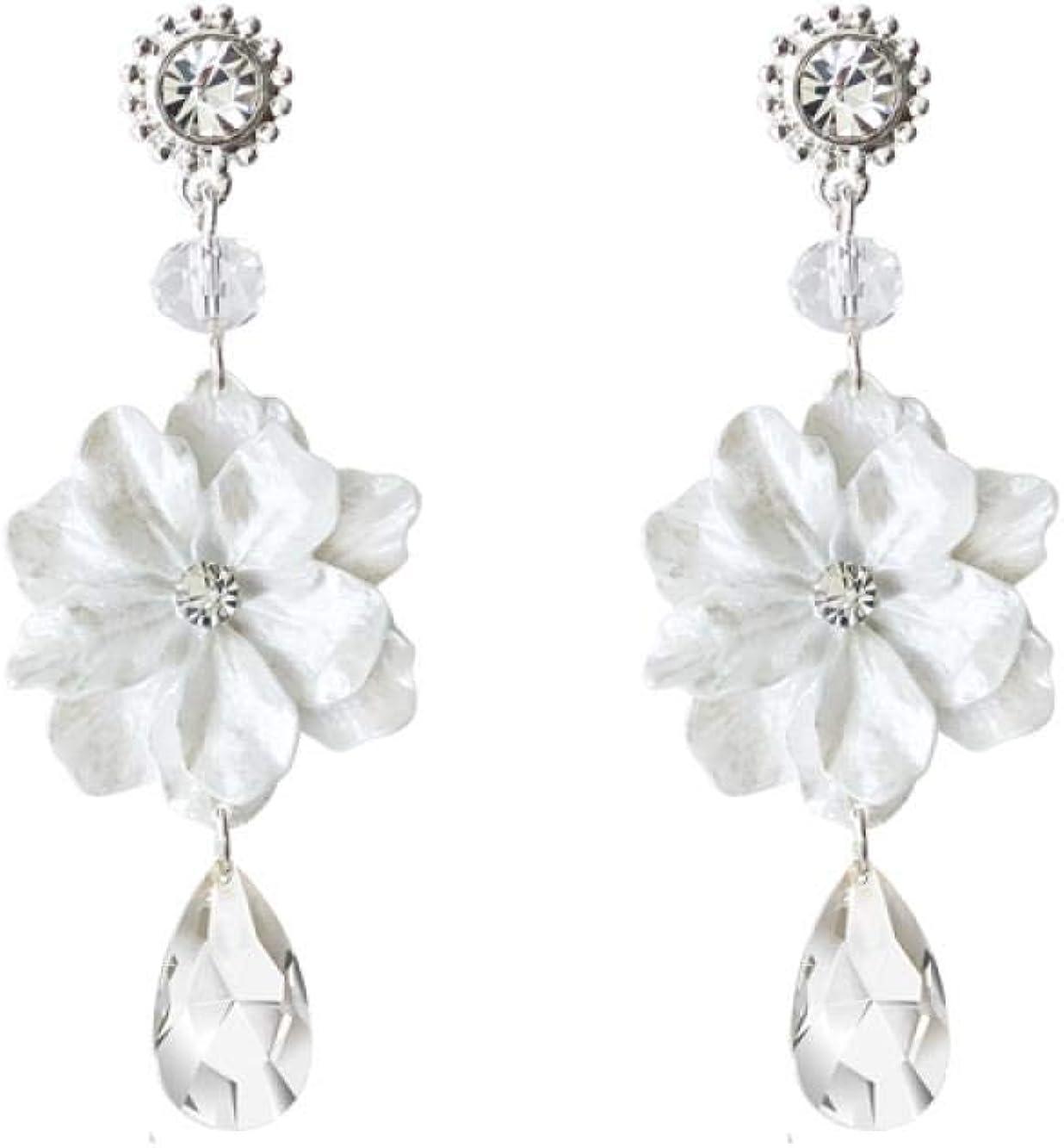 Pendientes de piedras preciosas de cristal, flor de resina blanca, aguja de plata 925, joyas de aleación
