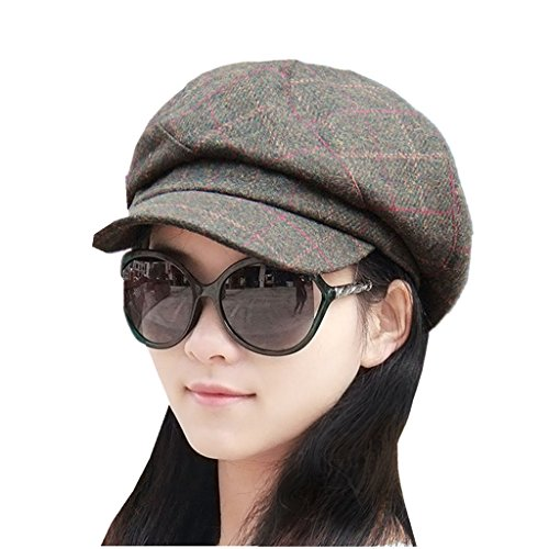 Home Prefer Womens Newsboy Hat Tartan Vintage Beret Cap Skull Cap with Visor (Plaid Vintage Hat)