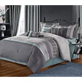 Chic Home 8-Piece Euphoria Embroidered Comforter Set, Queen, Aqua/Grey