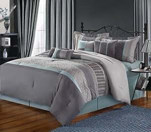 Chic Home 8-Piece Euphoria Embroidered Comforter Set, Queen, Aqua/Grey