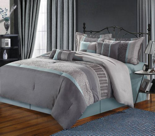 phoria Embroidered Comforter Set, King,Grey/Green ()