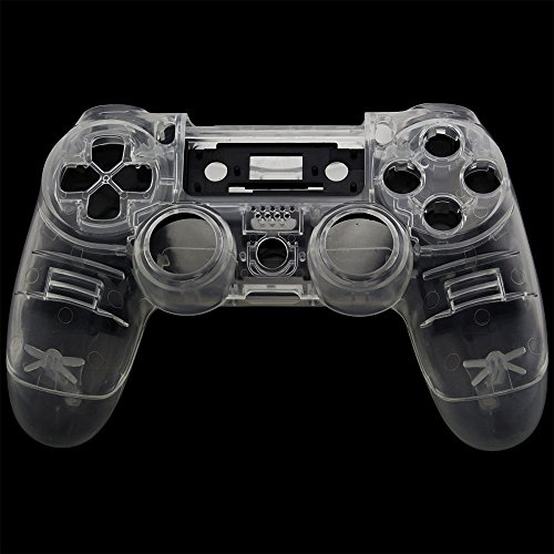 Jiulyning Custom Replacement Wireless Game Controller Shell Case Cover Kit for Sony PS4, Includes Button Set, Clear