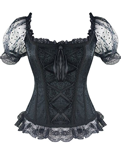(Burvogue Women's Short Sleeve Gothic Steampunk Jacquard Corsets Tops (Large, Black))