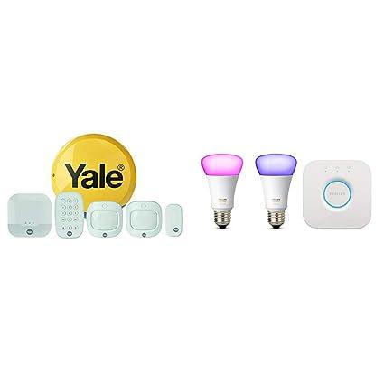 Yale Sync Smart Home Alarm + Philips Hue White and Ambience Colour Mini  Starter Kit (E27)