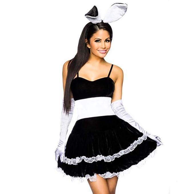 GYYWAN Sexy Halloween Play Girl Bunny Traje De Mucama para Mujer ...