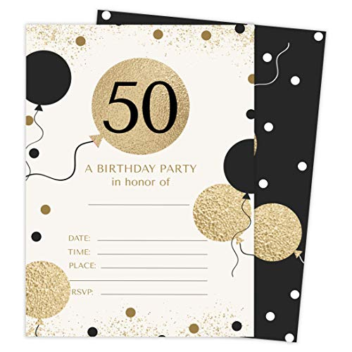 50th Birthday Style 1 Happy Birthday Invitations Invite Cards (25 Count) With Envelopes & Seal Stickers Vinyl Girls Boys Kids Party (25ct) -