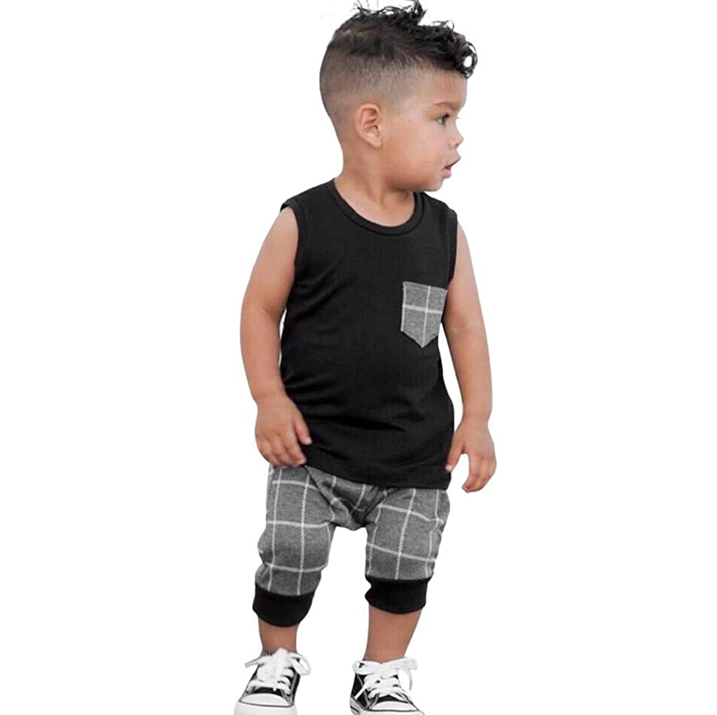 Infant Baby Boys Summer Casual Clothes Set Plaid Pocket Vest Tops +Shorts Yamally Yamally_9R
