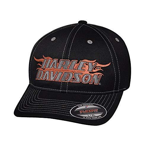 Harley-Davidson Official Men's Flame Stretch Fit Cap, Black (Large)