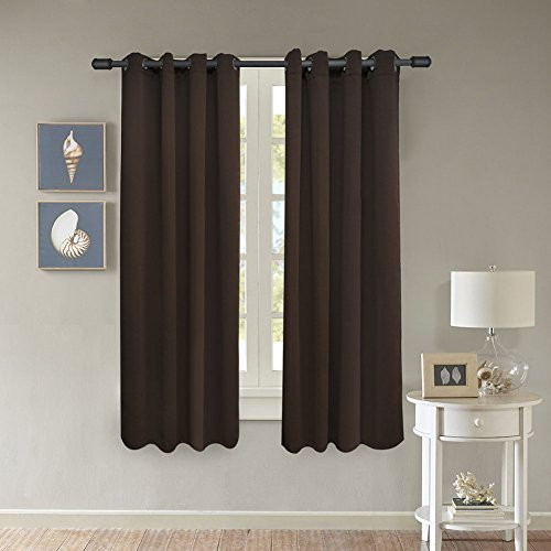 FY-LIVING Room Darkening Blackout Grommet Window Curtain,Two Panels,52 by 63-Inch,Chocolate