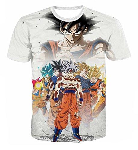 CHENMA Men Dragon Ball 3D Print Short Sleeve Pullover Regular Fit T-Shirt (Color 12, S) -