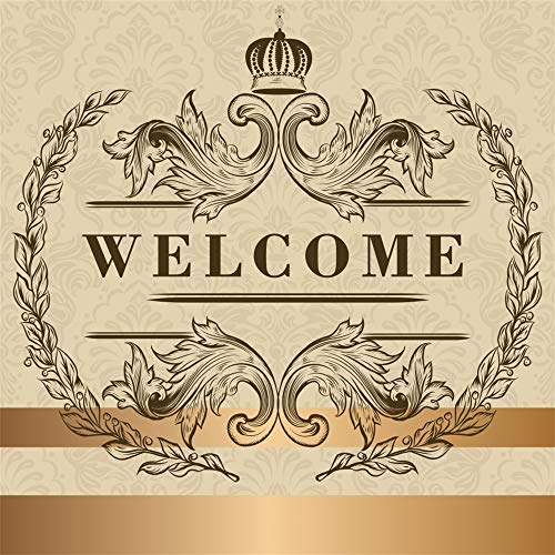 (Laeacco 6.5x6.5ft Customize Anniversary Emblem Backdrop Vinyl Artistic Design Damask Wallpaper Golden Stripes Photo Background Openning Up Marriage Birthday School Anniversary Shop Celebration Banner)