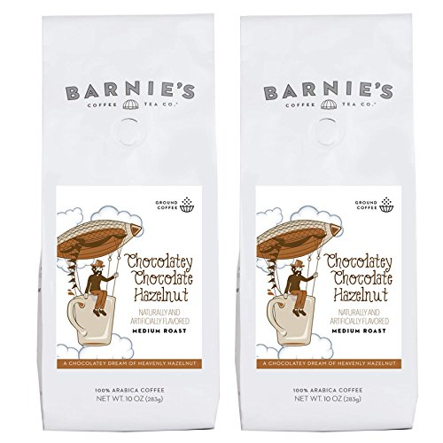 (Barnie's Chocolatey Chocolate Hazlenut Ground Coffee | Chocolate Hazelnut Flavored Coffee | Sugar Free, Gluten Free, Fat Free | Medium Roasted Arabica Coffee Beans | 2-Pack)