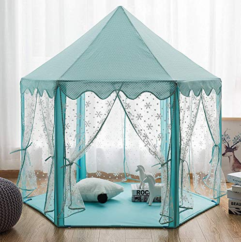 Pericross Snowflake Veil Hexagon Princess Play Tent with Aluminum Alloy Frame and 33ft 100 Diodes AA Battery Powered Brass Wire Lights (Cyan)