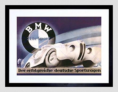 Advertisement BMW Sport CAR Germans Black Framed Art Print Picture B12X6137
