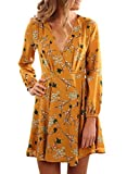 Sidefeel Women Long Sleeve V Neck Casual Print Short Dress X-Large Yellow