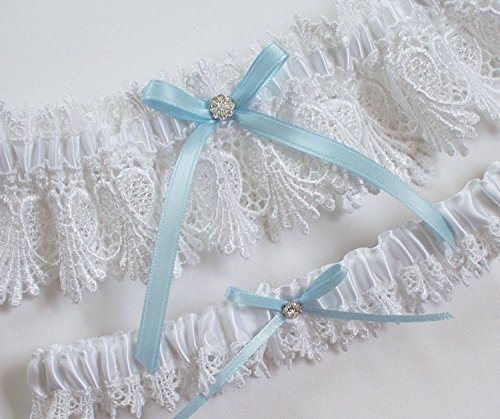 White Lace Garter Set with Light Blue Ribbon Bow and Crystal Finding