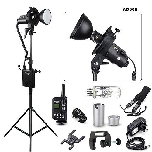 EACHSHOT Godox AD360 360W Portable Flash light + PB960 Battery Pack + Ft-16 Trigger + Bracket + 2M Light Stand for DSLR Cameras