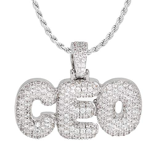 (TRIPOD JEWELRY Simulated Lab Diamond Studded Iced Out Bubble Letter CEO Necklace (White Gold 22))