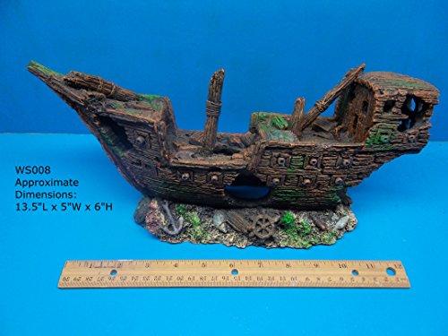 (FantaSea Aquarium Sunken Pirate Ship Shipwreck Ruins ON Rocks WS008)