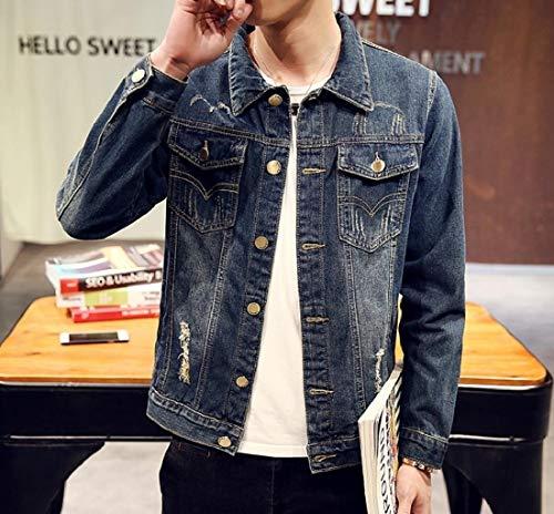 Washed Cowboy Coat Slim Denim Outwear Sankt Jacket Three Fit Stylish Men's Y0TTAq