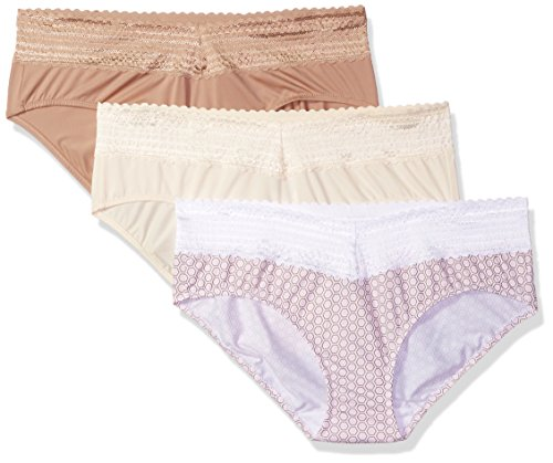 Warner's Women's Blissful Benefits No Muffin Top 3 Pack Lace Hipster Panties, Pearled Ivory/Toasted Almond/Body Tone Mosaic Print, 2XL