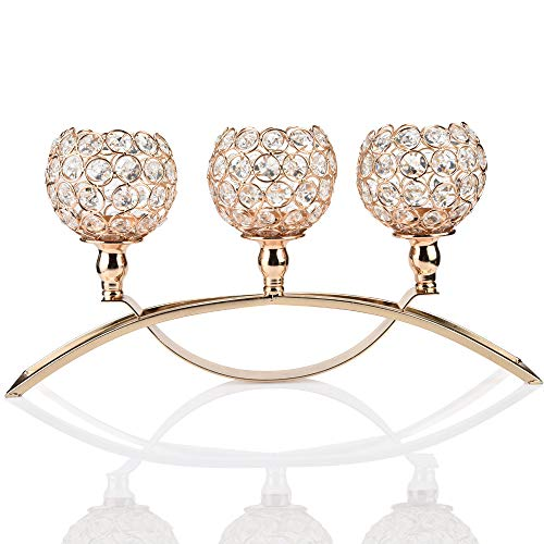 Basde Crystal Three Candlestick Holders Elegant Luxurious Crystal Candlesticks and Lamps Set,Coffee Table Decorative Centerpieces Candle Lantern Bowl Crystal Candlestick Set (Gold)
