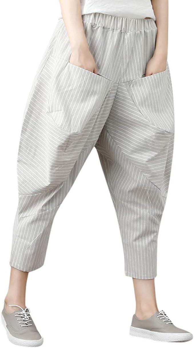 cinnamou Pantalones Mujer, Casual Pantalones Chinos Rays Bolsillo ...