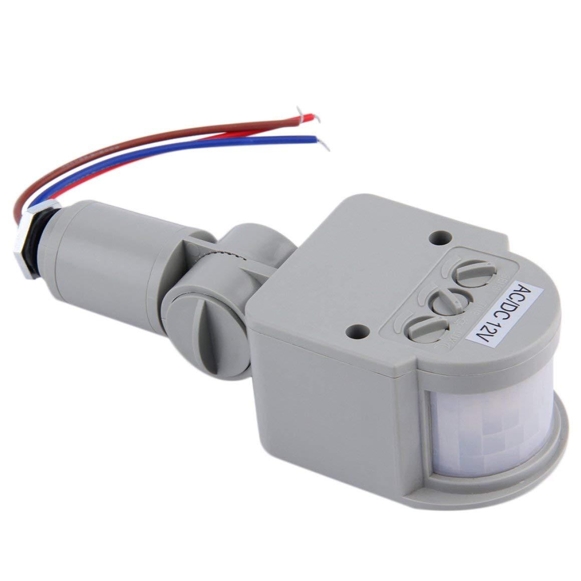 Funnyrunstore 1Pc DC / AC8V-12V automatico PIR a infrarossi sensore di movimento interruttore per LED luce qualità di sicurezza Indoor Outdoor spedizione gratuita (Colore: grigio)