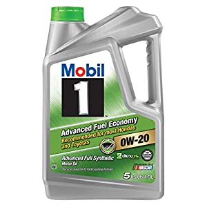 Mobil 1 120758 Synthetic Motor Oil 0W-20 (Advanced Fuel Economy), 5 Quart, Pack of 3
