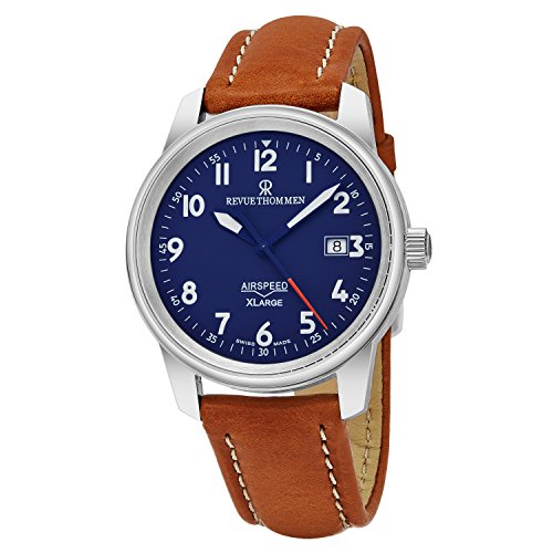 Revue Thommen 'Air Speed XL' Blue Dial Brown Leather Strap Swiss Mechanical Watch 16052.2535