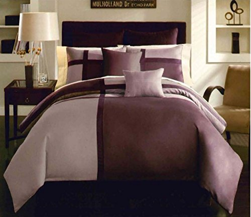 Dovedote Romantic Summer Lavender Purple Micro Suede Patchwork Duvet Cover Set Including 2 Big Euro Shams, Twin, 8 Piece (Cheap Prices Daybed)