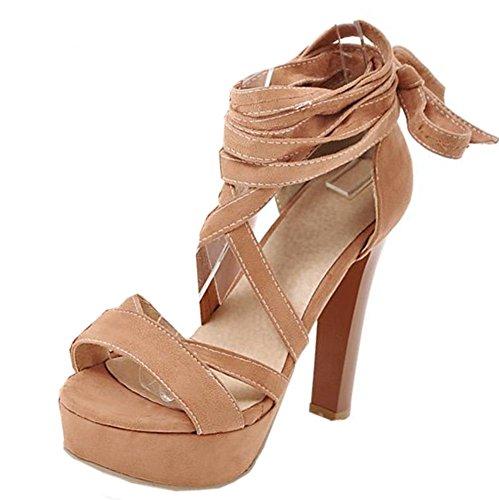 Easemax Women's Sexy Open Toe Self Tie Platform Open Toe High Chunky Heel Sandals Brown zdFUlnriPw