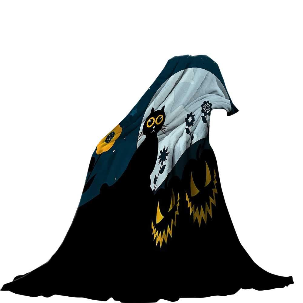 color03 50 x30  QINYAN-Home Soft Travel Blanket(60 x36  Velvet Plush Throw Blanket Halloween Decorations Black Cat on Pumpkin Head Spooky Cartoon Characters Halloween Humor Themed Art orange Black.