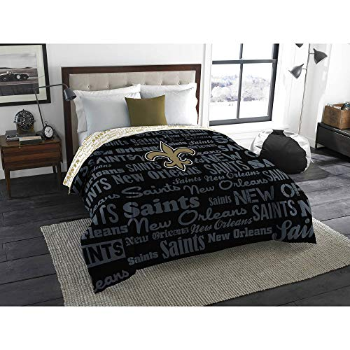 Northwest NFL New Orleans Saints 5pc Bedding Set: Includes (1) Twin/Full Comforter, (1) Blanket, (2) Throws, and (1) Toss Pillow ()