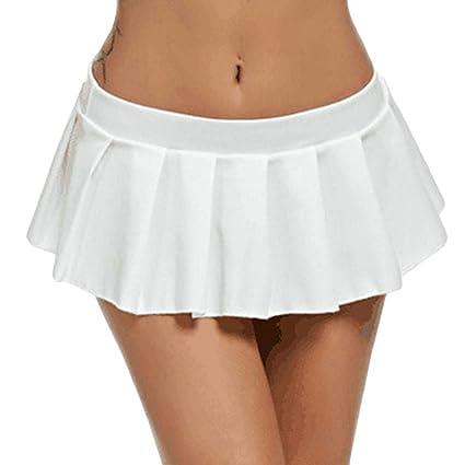Oudan - Falda Sexy de Cintura Baja para Mujer, Blanco, XX-Large ...