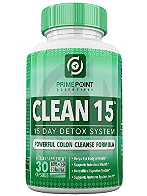 Prime Point Scientific CLEAN 15 Advanced Formula Best Complete Detoxifying System with Powerful Colon Cleanse for Weight Loss, Increased Energy and Bowel Regularity 30 Tablets