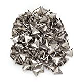 Silver Triangle Pyramid Studs Spike Rivet Craft Punk Tacks Nailhead Pack of 200