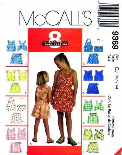 McCall's 9369 Sewing Pattern Girls Tops Shorts Skort Sets Size 10 - 12 - 14 (Vintage Skort)